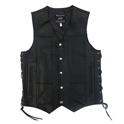 4Fit Men's Black Genuine Leather 10 Pockets Motorcycle Biker Vest S To 6XL (XL (CHEST 44'-46'))