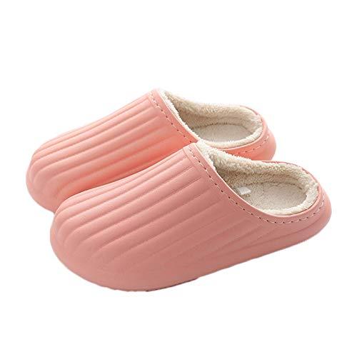 para Mujer para Mujer Invierno cómodas Zapatillas casero cálido Grueso Resuelto Resuelto Zapatillas de algodón Antideslizante Suela Zapatos de casa Interior al Aire Libre Unisex, Rosa, 40/41 TINGG