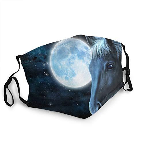 Anti-Staub-Mundschutz für Erwachsene, schwarz, Nacht, Mond, Pferd, Galaxie, verstellbare Gesichtsabdeckungen für Damen und Herren