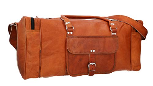 Gusti Travel Bag Leather - Harvey Brown Weekender Women Men's Sports Bag Hand Luggage