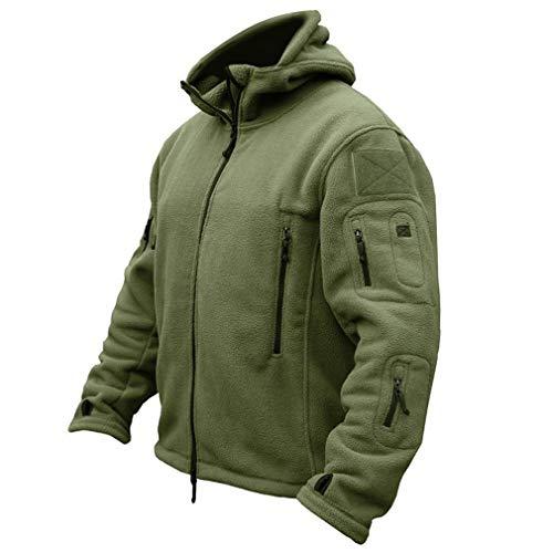 CARWORNIC Men's Military Tactical Fleece Jacket Warm Many Pockets Outdoor Hooded Coat Army Green