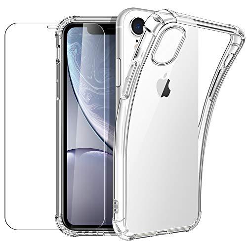 New&Teck Coque iPhone XR (6.1) + [Verre Trempé Protection écran], Housse Etui pour iPhone XR en Transparent Silicone TPU Souple [Bumper avec Coins Renforcés], Protection Claire.