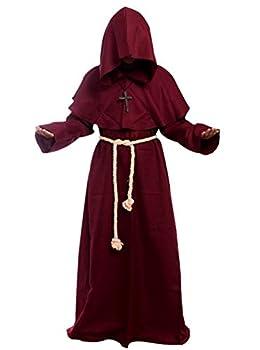Friar Medieval Hooded Monk Renaissance Priest Robe Costume Cosplay Burgundy