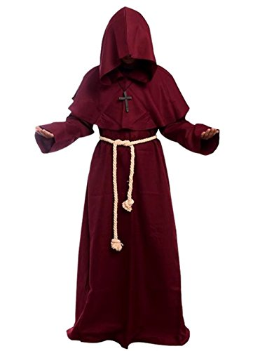 Friar Medieval Hooded Monk Renaissance Priest Robe Costume Cosplay burgundy M