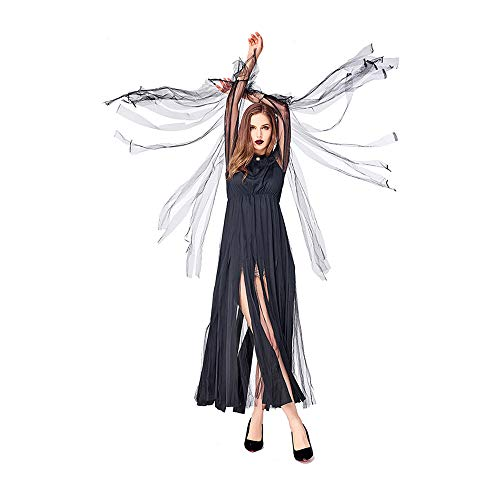 KLJJQAQ Halloween Carnival Magic Moth Evil Witch Costume Black Fringe Dress Party Party Hosting