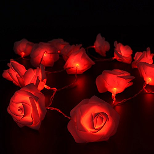 Fairy String Lights Red Rose Flower 20 LED Battery Operated Decorative Light for Wedding Valentines Day Dreamlike Party Girls Bedroom