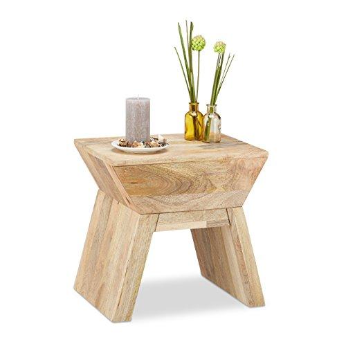 Relaxdays Beistelltisch Hocker 2 in 1, Holztisch aus Mangoholz, Sitzhocker im Bauhausstil HxBxT: 44 x 45 x 35 cm, natur