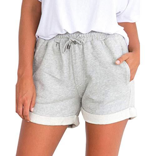 Mode Damen Shorts Sommer High Waist Lässige Gemütlich Kurze Hosen Freizeithose Beachshort Sporthose Taillen-kurze Hosen Hotpants (S, Grau)