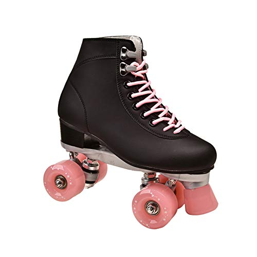 Roller Derby Damen Schlittschuhe Schwarz Draussen Erwachsene Rollschuhe Doppelte Linie Roller Skates PU 4 RäDer (Color : Black 6, Size : 8)