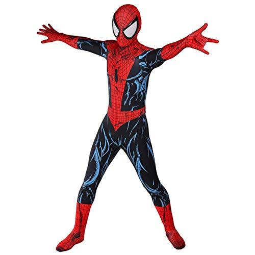 LINLIN Costume Spiderman Peter Parker Cosplay Abito Supereroe della Tuta Onesies dei Bambini del Vestito Operato del Partito di Halloween Tuta Lycra Spandex Zentai,Red-Kids L(135~145cm)