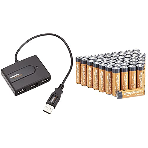 AmazonBasics USB 2.0 4-Port Ultra Mini Hub; Bus-powered & AA 1.5 Volt Performance Alkaline Batteries - Pack of 48 (Appearance may vary)