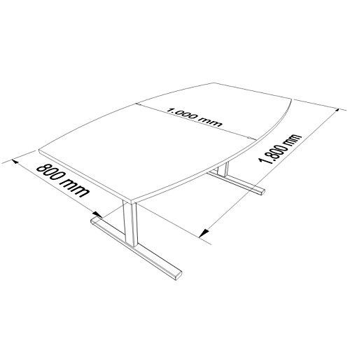 Weber Büroleben GmbH Easy Konferenztisch Bootsform 180x100 cm Ahorn Besprechungstisch Tisch, Gestellfarbe:Anthrazit
