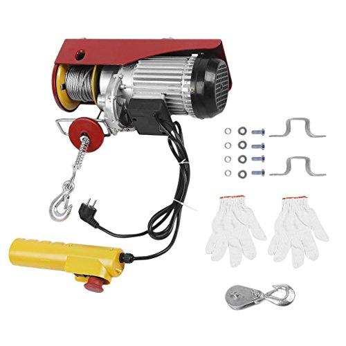 Treuil électrique 230V, 1450W, Palan électrique 400kg/800kg (12m/6m), Câble métallique de 5mm, opération dune seule main, fonction de freinage automatique, bouton darrêt durgence (PA800)