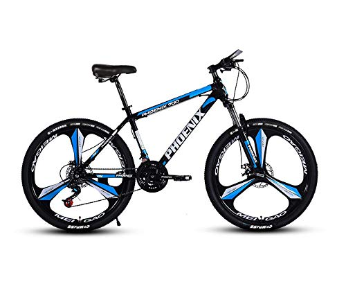 DGAGD 26 Inch Mountain Bike Variable Speed Bicycle Lightweight Adult Bicycle Tri-Cutter Wheel A-Azul Negro_27 velocidades