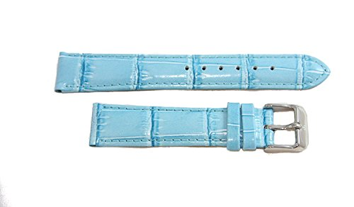 Lucien Piccard 18MM Aqua Blue Genuine Leather with Alligator Grain/Texture Watch Band Strap & Silver Signed Tang Buckle