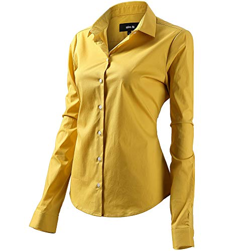 FLY HAWK Bluse Hemdbluse Damen Hemd Basic Kent-Kragen Elegant OL Work Slim Fit Langarm Stretch Formelle Hemden,Gelb, Größe 46, Hersteller - 18