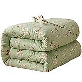 JIAJULL Reversible & Leichte Quilt Tagesdecke, Pre-Washed for zusätzlichen Komfort, leicht zu pflegen, maschinenwaschbar, Grün Blume Blumen (Größe : 200 * 230cm 5kg)