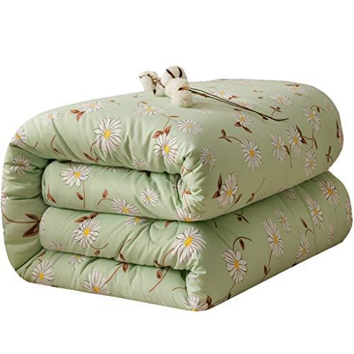 JIAJULL Reversible und Leichte Quilt Tagesdecke, Pre-Washed for zusätzlichen Komfort, pflegeleicht, maschinenwaschbar, Grün Blume Blumen (Größe : 150 * 200cm 3.5kg)