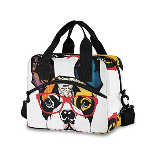 French Bulldog Lunch Bags for Women Leakproof Crossbody Lunch Bag Lunch Bag with Shoulder Strap lunch Box Purse Lunch Cooler Bag for Women,Nurse,Teachers(k)
