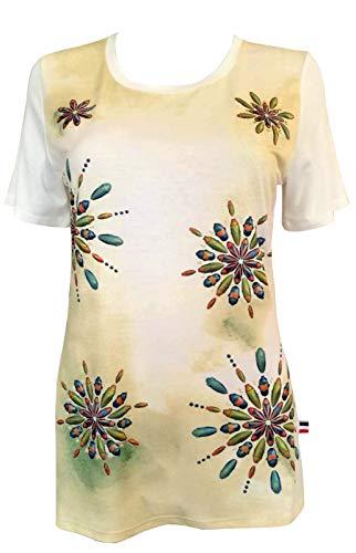 Alex(e) T-Shirt Femme Manches Courtes Top Haut Vêtement Col-Rond Made in France Grandes Tailles Mode Ete Chic Imprimé Oscar (Jaune, XXL)