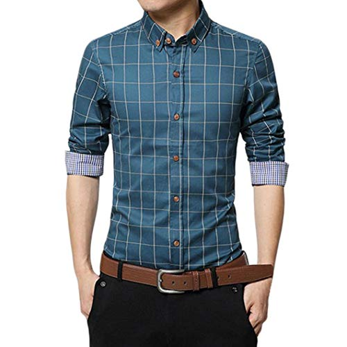 FAMILIZO Camisas Hombre Manga Larga Slim Fit Camisas Hombre Lino Camisas Hombre Originales Tops Blusa Hombre Blanca Otoño Casual Formal Slim Button-Down Cuadros
