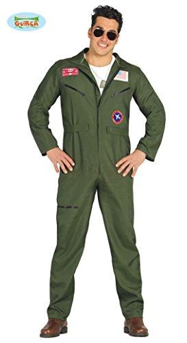 Fiestas Guirca-80803 Kostüm Top Gun Fliegeranzug Pilotenkämpfer für Erwachsene, Grün, L, 803.0
