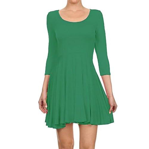 HOT HANGER Womens Long Sleeve Scoop Neck Skater Dress UK 8-28 53531826c