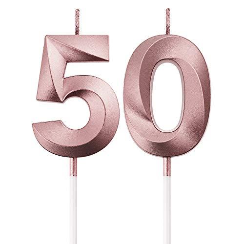 Velas de Cumpleaños 50 Velas de Numeros de Pastel Topper Decoración de Pastel de Feliz Cumpleaños para Fiesta de Cumpleaños Boda Aniversario Celebración (Oro Rosa)