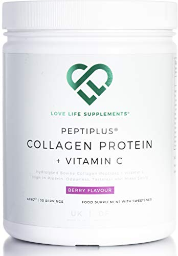 PEPTIPLUS Collagen Protein + Vitamin C by LLS | Hydrolysed Bovine Collagen Plus Vitamin C for Enhanced Collagen Production | 489g / 30 Servings | Berry Flavour | UK Made