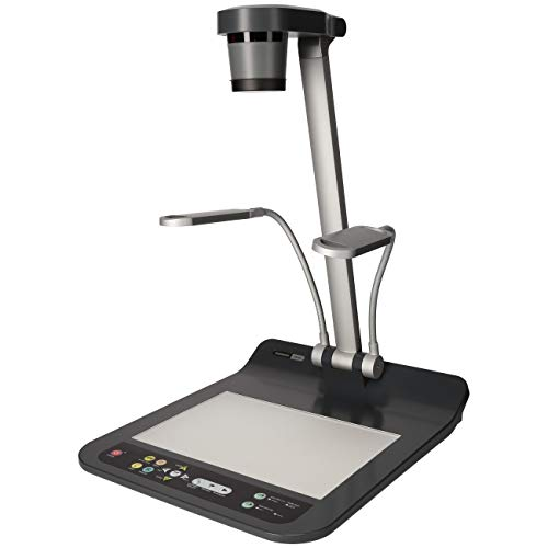 Lumens PS752 Desktop Document Camera, Full HD 1080p output resolution with 30fps, 20 times variable zoom ratio, Built-in microphone, Folds down to a heightoseneck Side Lamps - USB, VGA, and HDMI Ports