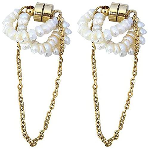 Clip magnético de cadena larga de perlas de agua dulce natural, sin perforaciones para el oído, accesorio para mujer de joyería Big_Pearl