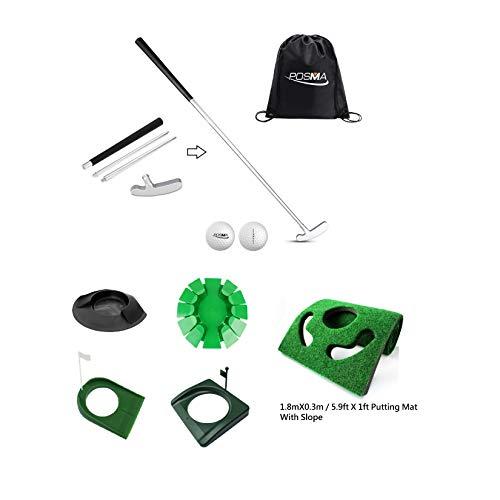 POSMA GCP02E 4 Sections Portable Best Two-Way Putter 4 Kinds of Putt Cup 1 Putt Mat Kite Set - Left Right Hand - Tour Golf Balls - 1 Golf Carry Bag
