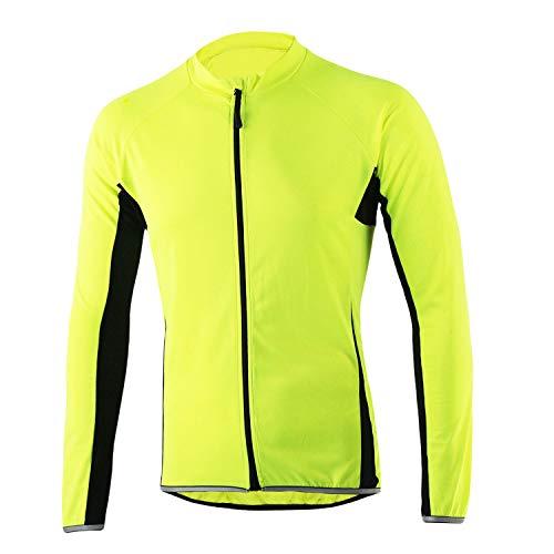 SUKUTU - Camiseta de ciclismo para hombre, manga larga, secado rápido, transpirable, para bicicleta de montaña