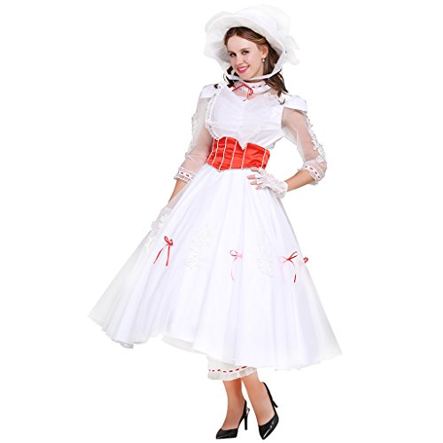 CosplayDiy Women's Costume Dress for Mary Poppins Princess Cosplay M White