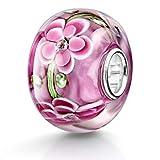 Materia XXL Beads Anhänger Blüten Zirkonia - Murano Glas Kugel Magenta rot 12x15mm für Armband 1524