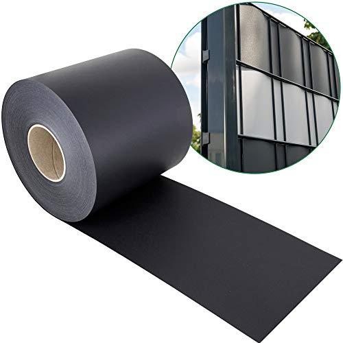 Sichtschutzstreifen PP für Doppelstabmatten - anthrazit - Hemmdal - Stärke von 1,1 mm - Zaun Sichtschutz 35 m Doppelstabmattenzaun hart