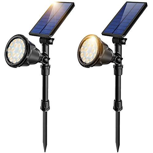JSOT Solarlampen für Außen, 18 LED Solarleuchte Garten mit 2 Beleuchtungsmodi Solarleuchten Aussen Wasserdichte Wandleuchte für Wand, Rasen, Gehweg - Gelbes Licht, 2 Stück