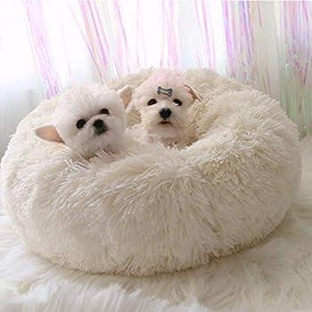 TVMALL – Panier rond en polaire pour animal de compagnie, épais et chaud, convient pour chien, chat, chiot, chaton, petit animal