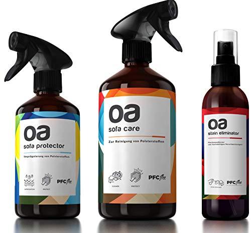 OA Polsterpflege (3er-Set-big) - Polsterreiniger, Imprägnierspray & Fleckenentferner - 100% PFC frei & vegan - Effektive Reinigung und Imprägnierung für Sofa, Textil, Autositz, Teppich und Polster