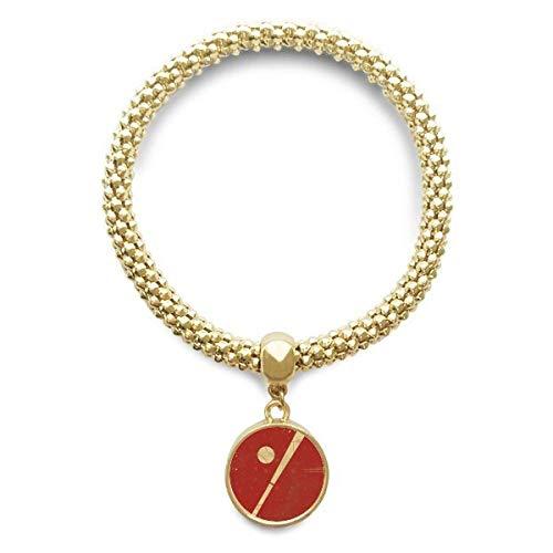 DIYthinker Damen Sport Baseball Illustration Rot Muster Goldene Armband Laufende Anhänger Schmuck-Kette
