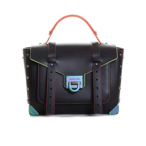 """100% leather; Neon hardware 10""""W X 7.25""""H X 4""""D; Adjustable strap: 19""""-21"""" Exterior details: front slip pocket; Interior details: back zip pocket, front slip pocket Lining: 100% polyester; Flip-lock fastening; Dust bag included Style Number: 30T9TNCS..."""