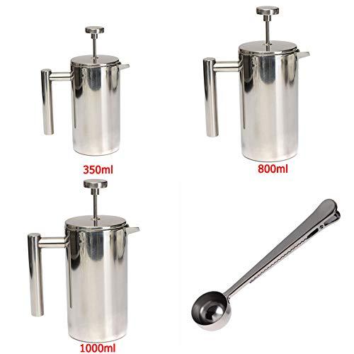 COKFEB Filtro da caffè Cucchiaio dacestello per Filtro da caffè a Doppia Parete per caffè Francese in Acciaio Inossidabile da 350 ml / 800 ml / 1000 ml, Cucchiaio da 800 ml con Cucchiaio