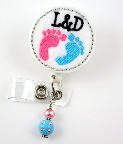 Labor and Delivery Baby Feet - Nurse Badge Reel - Retractable ID Badge Holder - Nurse Badge - Badge Clip - Badge Reels - Pediatric - RN - Name Badge Holder