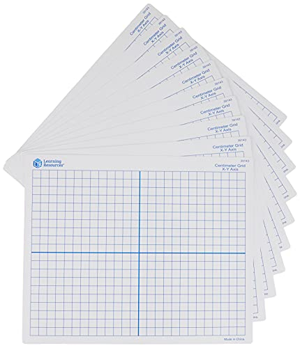 """Learning Resources 9""""X 11"""" Double Sided x-Y Axis Dry Erase Mats, Graphing, Math Classroom Accessories, Teaching Aids, Set of 10, Ages 6+"""