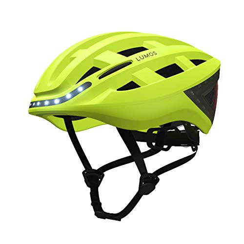 Lumos LKHE Kickstart Smart Bike Helmet, Electric Lime | Front and Rear LED Lights | Turn Signals | Brake Lights