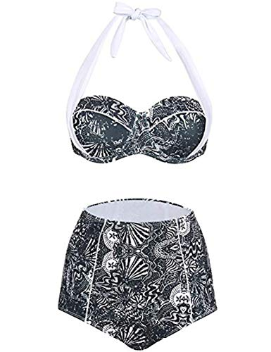 FeelinGirl Bikini Tankini 50er Damen Retro Vintage Bikini Sets High Waist Bademode Badeanzug Neckholder Swimsuit XL Grau