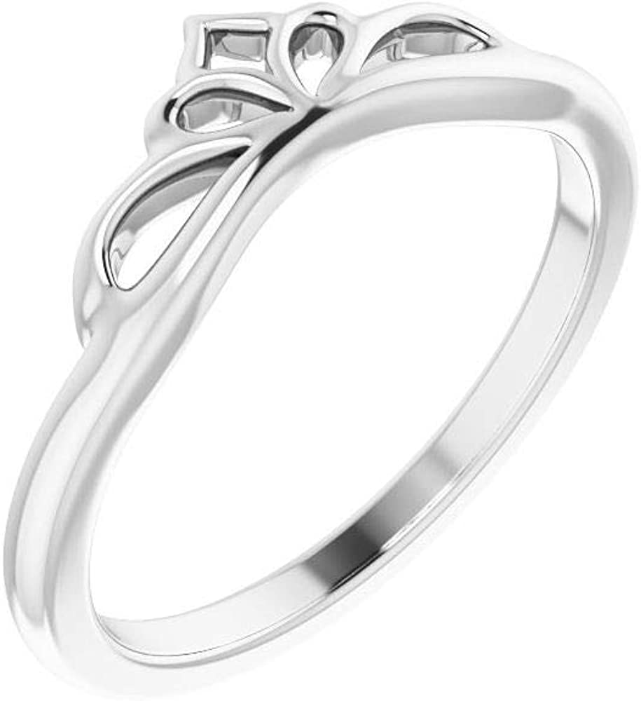 Solid Platinum Stackable Wedding Anniversary Crown Ring Band (Width = 9.3mm)
