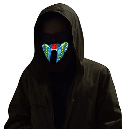 Kampeaburr Cosplay-Maske mit Stimmaktivierung, Licht und Musik, LED-Maske, für Damen, Herren, Kinder, Gigts Bandanna, warme Maske, Partykostüme Gr. Einheitsgröße, Cyborg