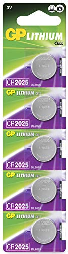 GP CR2025 3V - Pack de 5 Pilas CR 2025 de Litio botón | Sin Mercurio | Pack...