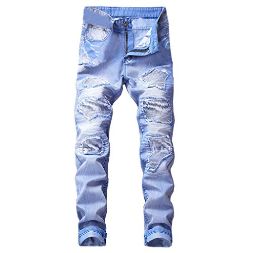 iHPH7 Jeans Men Relaxed Straight Jean Men Vintage Jeans Denim Folds Wash Work Frayed Trousers Zipper Basic Pants 40 Light Blue